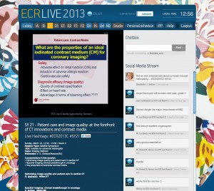 ECR Live enabled viewers to stream more than 1400 lectures from ECR 2013 and discuss them via the integrated social media wall and chat function. For ECR 2014, the service will be extended to cover every lecture room.